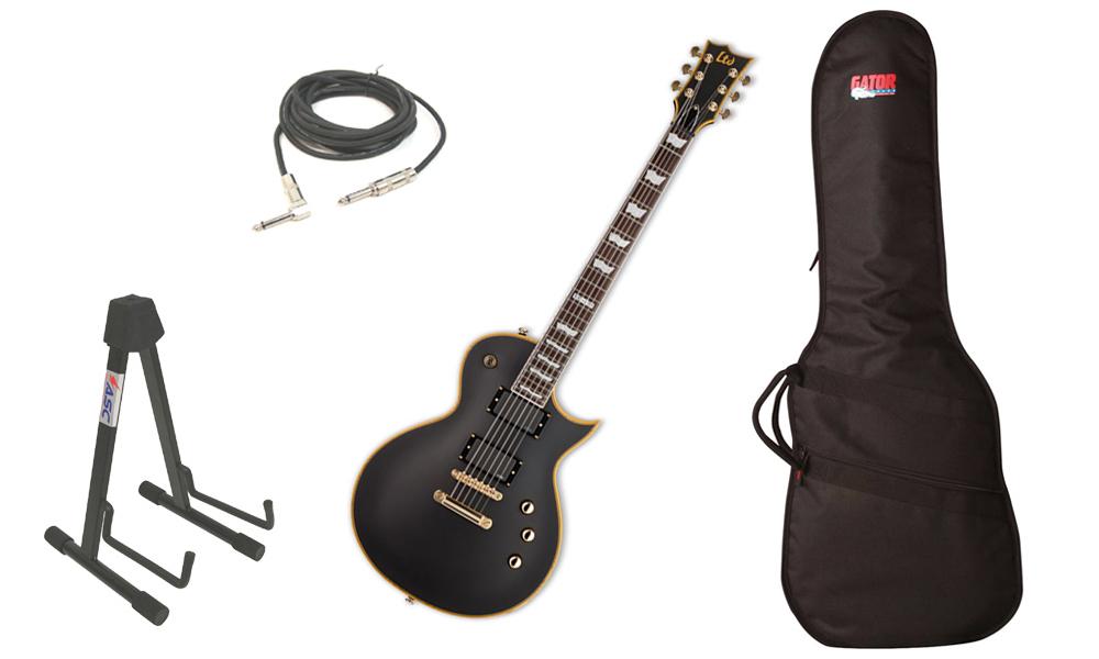 "ESP LTD EC Series EC-401 Mahogany Body 6 String Rosewood Fingerboard EMG Pickups Vintage Black Electric Guitar with Travel Gig Bag, Stand & 1/4"" Cable"