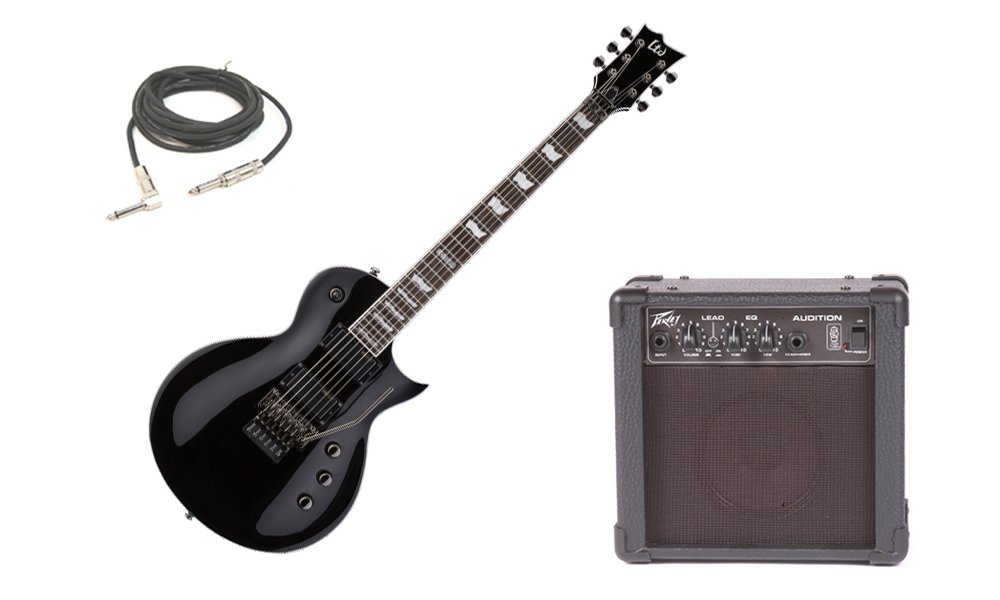"ESP LTD EC Series EC-331FR Mahogany Body 6 String Rosewood Fingerboard Floyd Rose Bridge Black Electric Guitar with Peavey Audition Practice Amp & 1/4"" Cable"