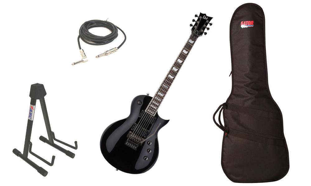 "ESP LTD EC Series EC-331FR Mahogany Body 6 String Rosewood Fingerboard Floyd Rose Bridge Black Electric Guitar with Travel Gig Bag, Stand & 1/4"" Cable"