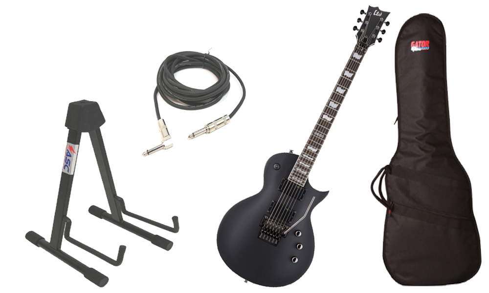 "ESP LTD EC Series EC-331FR Mahogany Body 6 String Rosewood Fingerboard Floyd Rose Bridge Black Satin Electric Guitar with Travel Gig Bag, Stand & 1/4"" Cable"