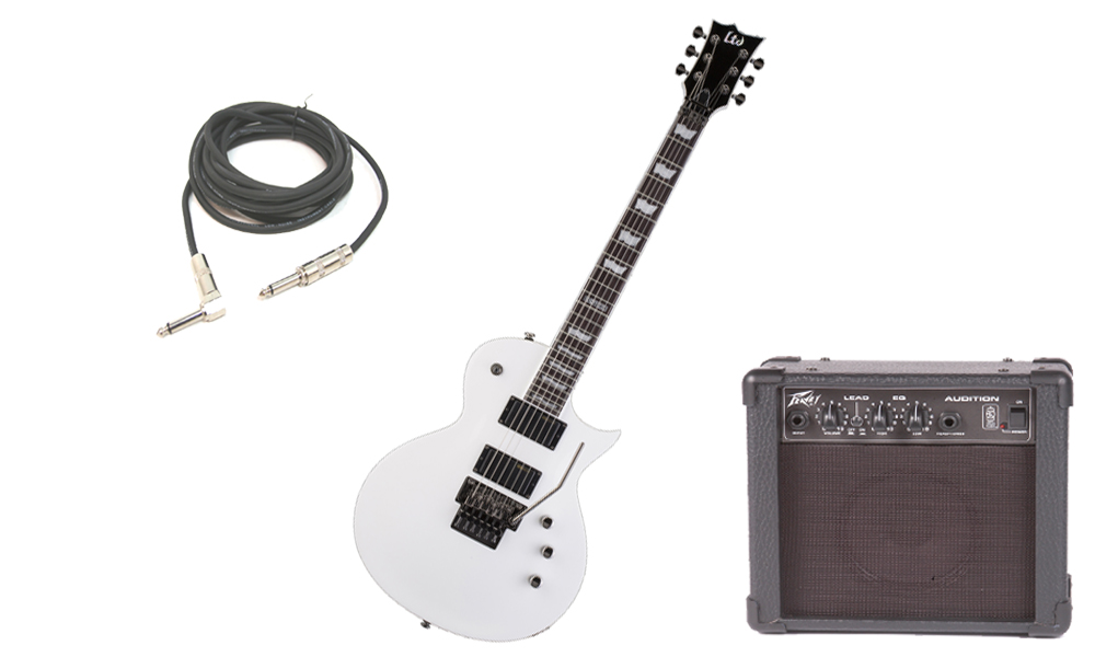 """ESP LTD EC Series EC-331FR Mahogany Body 6 String Rosewood Fingerboard Floyd Rose Bridge Snow White Electric Guitar with Peavey Audition Practice Amp & 1/4"""" Cable"""