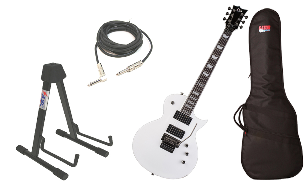 "ESP LTD EC Series EC-331FR Mahogany Body 6 String Rosewood Fingerboard Floyd Rose Bridge Snow White Electric Guitar with Travel Gig Bag, Stand & 1/4"" Cable"