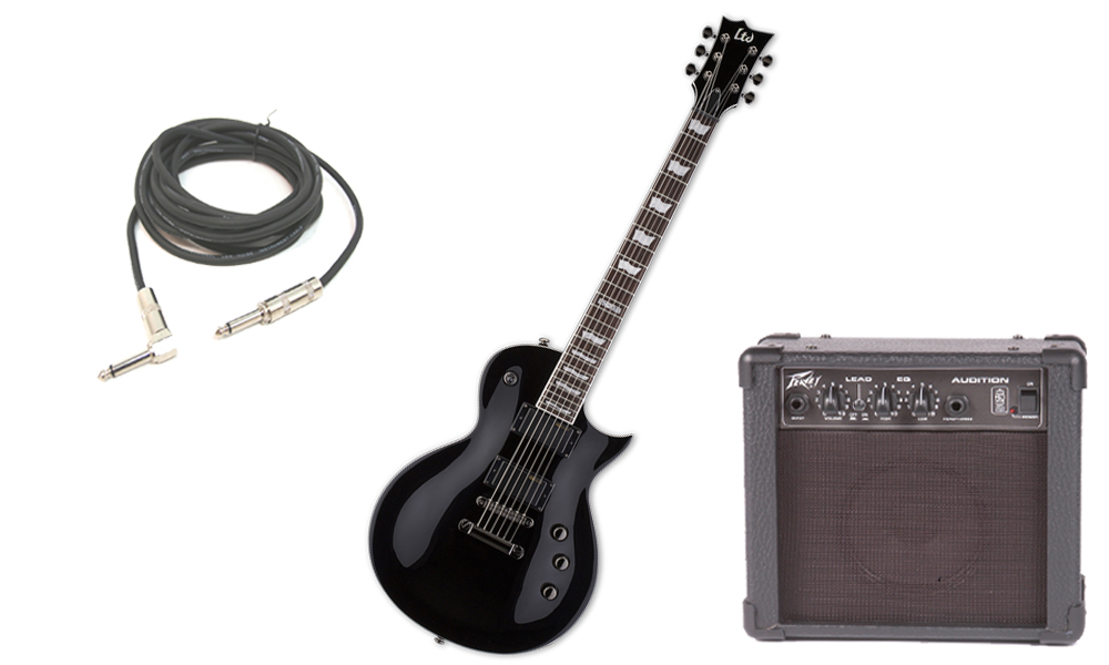"ESP LTD EC Series EC-331 Mahogany Body 6 String Rosewood Fingerboard Black Electric Guitar with Peavey Audition Practice Amp & 1/4"" Cable"