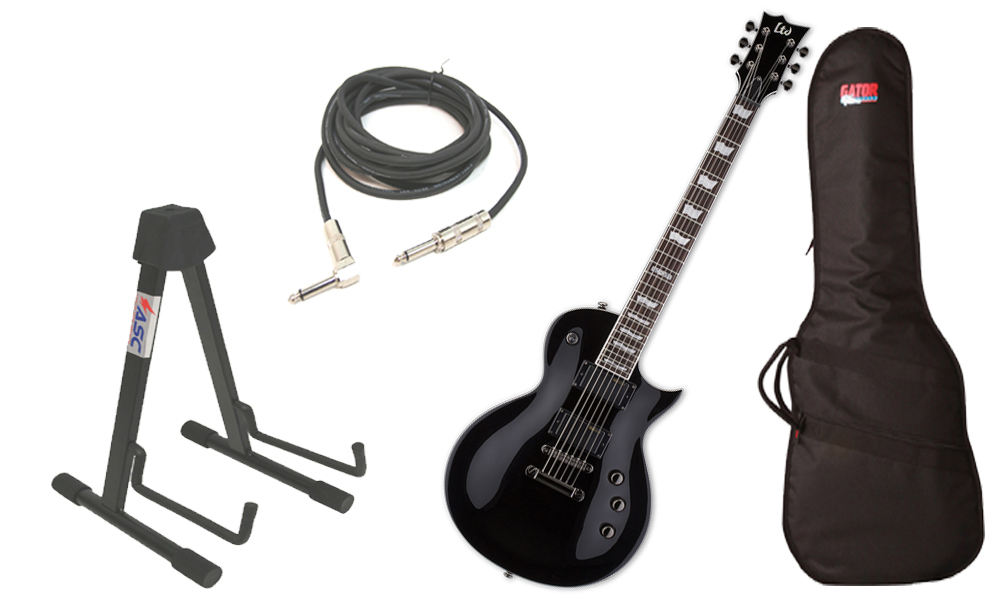"""ESP LTD EC Series EC-331 Mahogany Body 6 String Rosewood Fingerboard Black Electric Guitar with Travel Gig Bag, Stand & 1/4"""" Cable"""