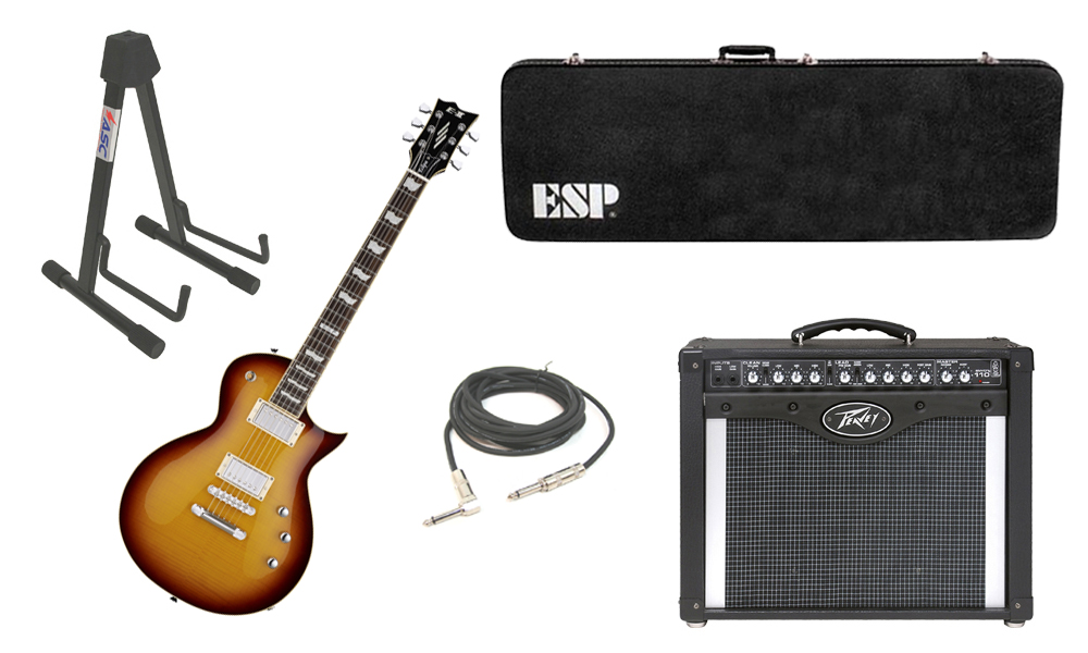 """ESP E-II Eclipse Flamed Maple Top 6 String Tobacco Sunburst Electric Guitar with Peavey Envoy 110 Tube Amp, 1/4"""" Cable & Stand"""