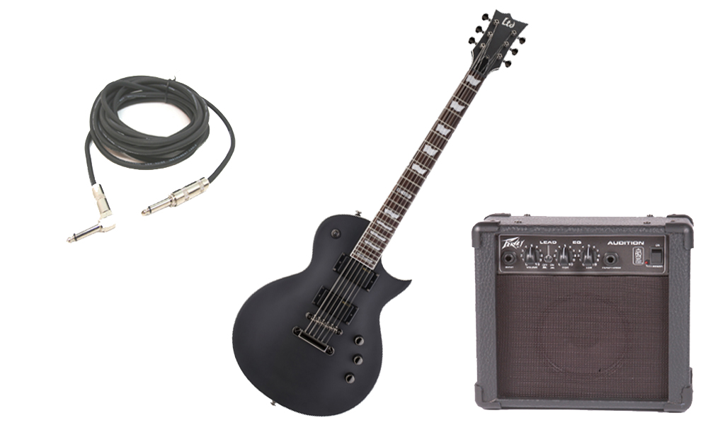 """ESP LTD EC Series EC-331 Mahogany Body 6 String Rosewood Fingerboard Black Satin Electric Guitar with Peavey Audition Practice Amp & 1/4"""" Cable"""