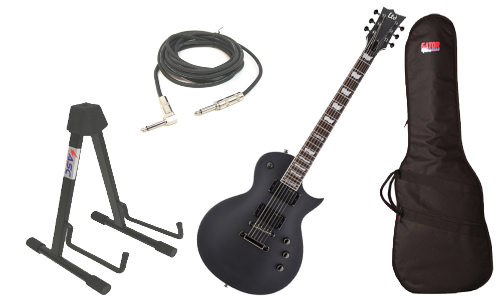 """ESP LTD EC Series EC-331 Mahogany Body 6 String Rosewood Fingerboard Black Satin Electric Guitar with Travel Gig Bag, Stand & 1/4"""" Cable"""