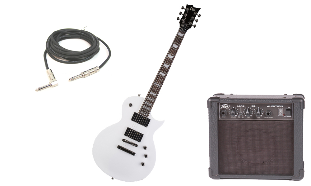 "ESP LTD EC Series EC-331 Mahogany Body 6 String Rosewood Fingerboard Snow White Electric Guitar with Peavey Audition Practice Amp & 1/4"" Cable"