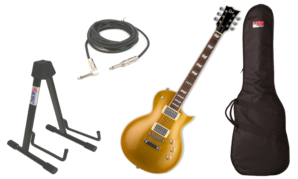 """ESP LTD EC Series EC-256 Mahogany Body 6 String Rosewood Fingerboard Metallic Gold Electric Guitar with Travel Gig Bag, Stand & 1/4"""" Cable"""