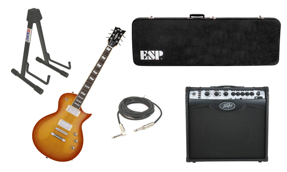 """ESP E-II Eclipse Flamed Maple Top 6 String Vintage Honey Sunburst Electric Guitar with Peavey VIP 2 Modeling Amp, 1/4"""" Cable & Stand"""