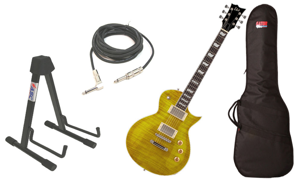 "ESP LTD EC Series EC-256 Flamed Maple 6 String Rosewood Fingerboard Lemon Drop Electric Guitar with Travel Gig Bag, Stand & 1/4"" Cable"