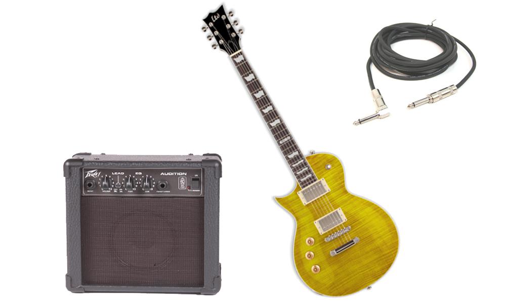 "ESP LTD EC Series EC-256 Flamed Maple 6 String Rosewood Fingerboard Lemon Drop Electric Guitar (Left Hand) with Peavey Audition Practice Amp & 1/4"" Cable"