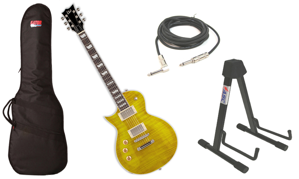 "ESP LTD EC Series EC-256 Flamed Maple 6 String Rosewood Fingerboard Lemon Drop Electric Guitar (Left Hand) with Travel Gig Bag, Stand & 1/4"" Cable"