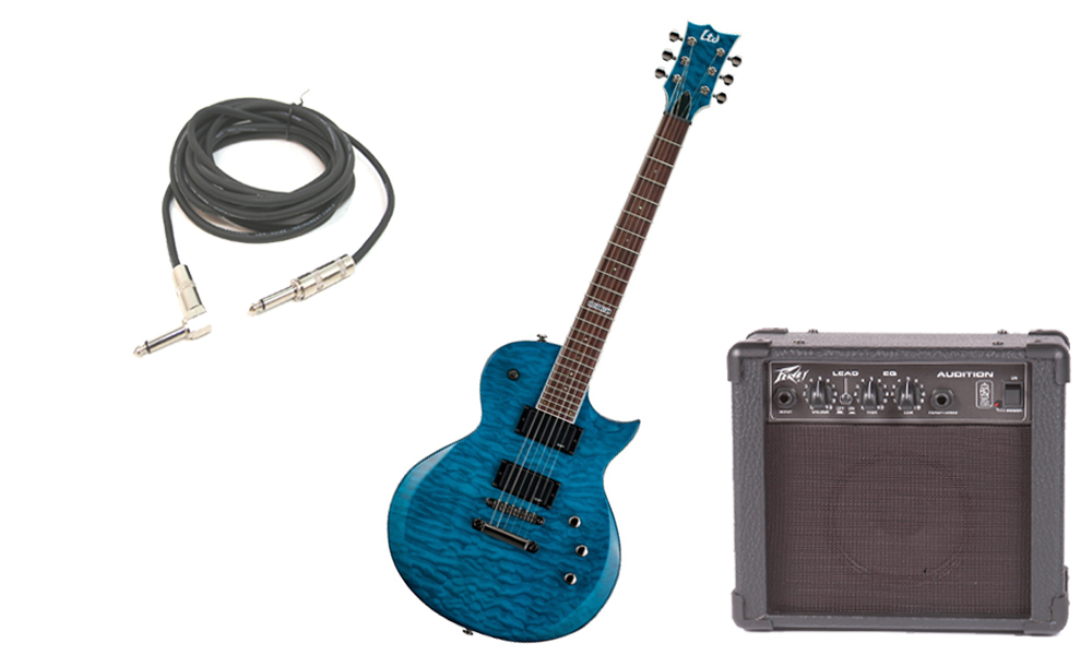 """ESP LTD EC Series EC-200 Quilted Maple 6 String Rosewood Fingerboard See Through Blue Electric Guitar with Peavey Audition Practice Amp & 1/4"""" Cable"""