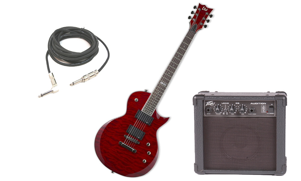 """ESP LTD EC Series EC-200 Quilted Maple 6 String Rosewood Fingerboard See Through Black Cherry Electric Guitar with Peavey Audition Practice Amp & 1/4"""" Cable"""