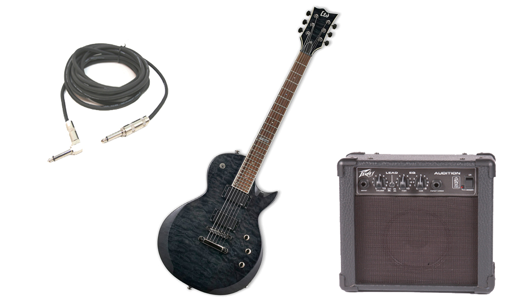 """ESP LTD EC Series EC-200 Quilted Maple 6 String Rosewood Fingerboard See Through Black Electric Guitar with Peavey Audition Practice Amp & 1/4"""" Cable"""