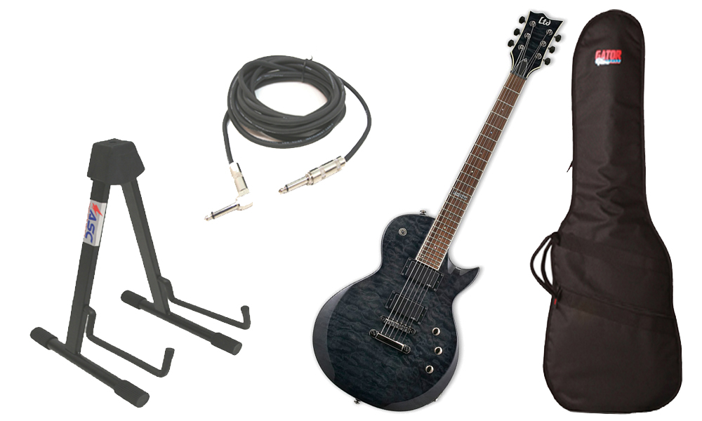 """ESP LTD EC Series EC-200 Quilted Maple 6 String Rosewood Fingerboard See Through Black Electric Guitar with Travel Gig Bag, Stand & 1/4"""" Cable"""