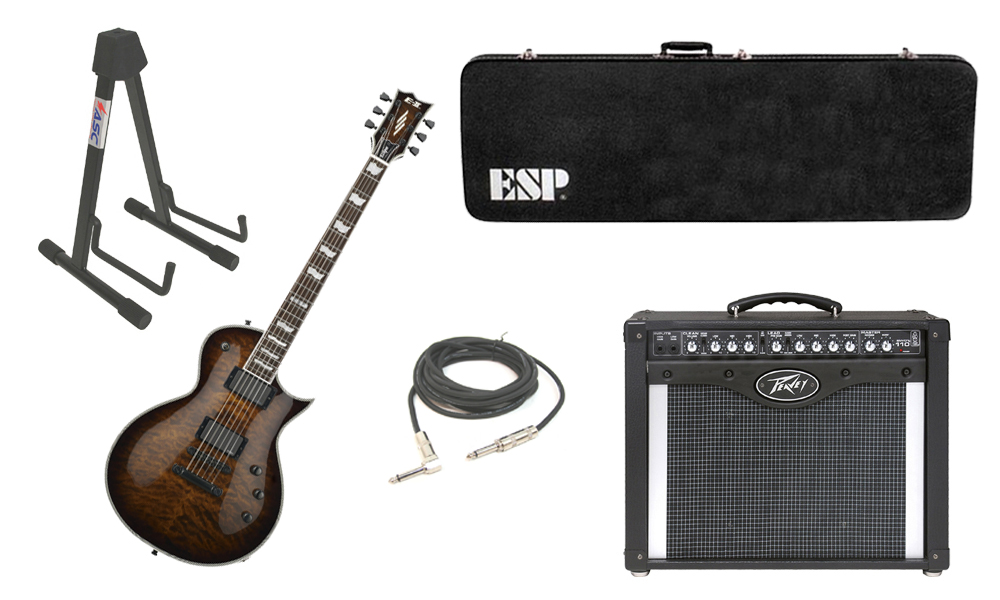 """ESP E-II Eclipse Quilted Maple Top 6 String Dark Brown Sunburst Electric Guitar with Peavey Envoy 110 Tube Amp, 1/4"""" Cable & Stand"""