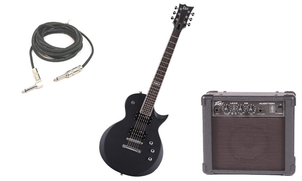 """ESP LTD EC Series EC-200 Mahogany Body 6 String Rosewood Fingerboard Black Satin Electric Guitar with Peavey Audition Practice Amp & 1/4"""" Cable"""
