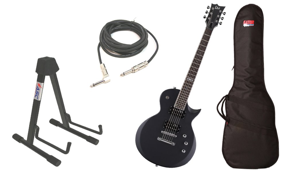 """ESP LTD EC Series EC-200 Mahogany Body 6 String Rosewood Fingerboard Black Satin Electric Guitar with Travel Gig Bag, Stand & 1/4"""" Cable"""