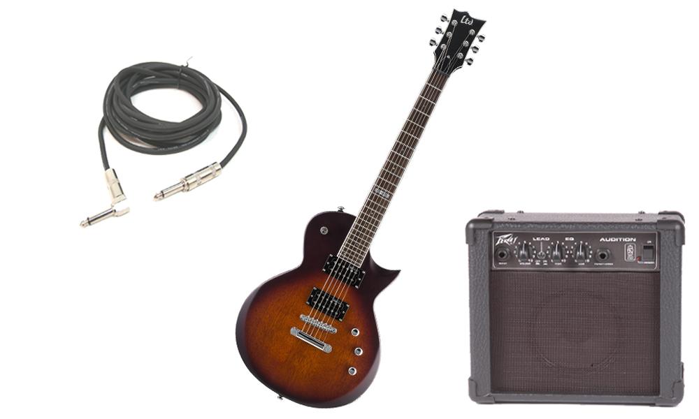 "ESP LTD EC Series EC-200 Mahogany Body 6 String Rosewood Fingerboard Tobacco Sunburst Satin Electric Guitar with Peavey Audition Practice Amp & 1/4"" Cable"