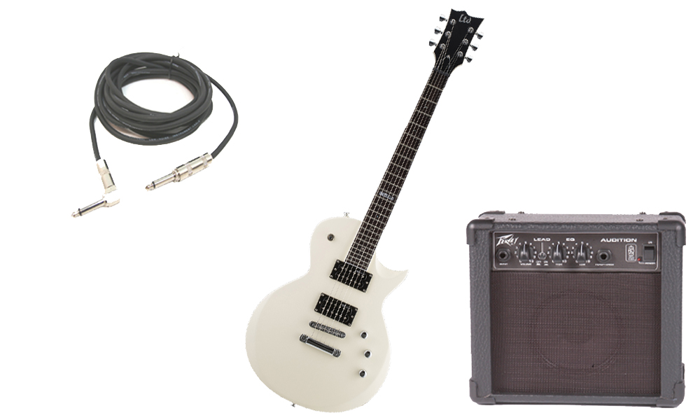 """ESP LTD EC Series EC-200 Mahogany Body 6 String Rosewood Fingerboard Vintage White Satin Electric Guitar with Peavey Audition Practice Amp & 1/4"""" Cable"""