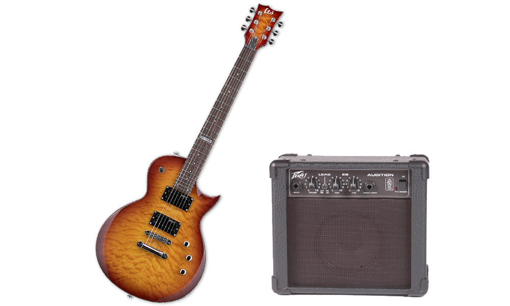 ESP LTD EC Series EC-100 Quilted Maple 6 String Rosewood Fingerboard Faded Cherry Sunburst Electric Guitar & Peavey Audition Practice Amp
