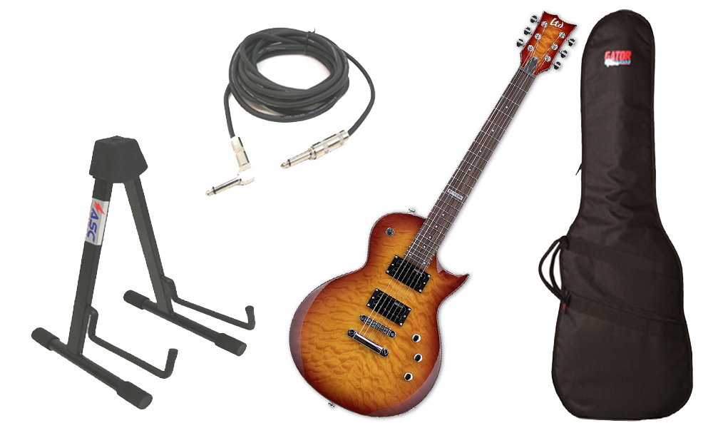 "ESP LTD EC Series EC-100M Quilted Maple 6 String Rosewood Fingerboard Faded Cherry Sunburst Electric Guitar with Travel Gig Bag, Stand & 1/4"" Cable"