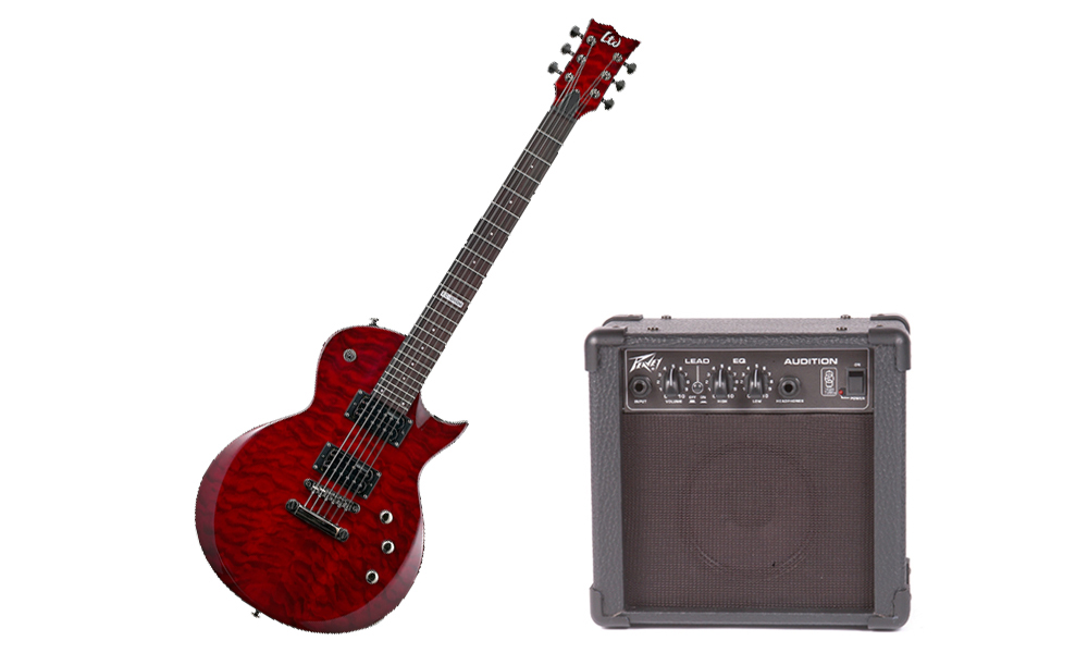 ESP LTD EC Series EX-100QM Quilted Maple 6 String Rosewood Fingerboard See Through Black Cherry Electric Guitar & Peavey Audition Practice Amp