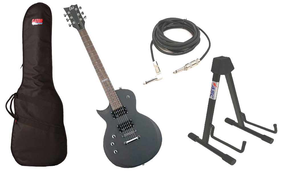 "ESP LTD EC Series EC-50 Basswood Body 6 String Rosewood Fingerboard Black Satin Electric Guitar (Left Hand) with Travel Gig Bag, Stand & 1/4"" Cable"