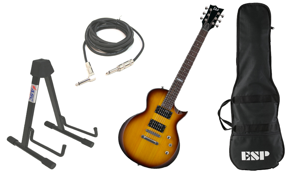 """ESP LTD EC Series EC-10 Basswood Body 6 String Rosewood Fingerboard 2 Tone Sunburst Electric Guitar with Stand & 1/4"""" Cable"""
