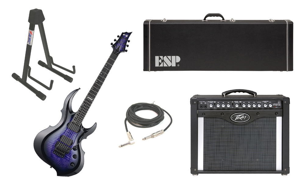 """ESP E-II FRX Flamed Maple Top 6 String Reindeer Blue Electric Guitar with Peavey Envoy 110 Tube Amp, 1/4"""" Cable & Stand"""