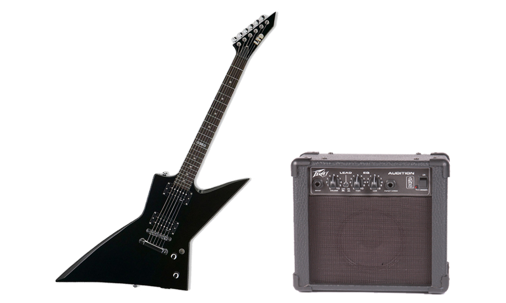 ESP LTD EX Series EX-50 Basswood Body 6 String Rosewood Fingerboard Black Electric Guitar & Peavey Audition Practice Amp