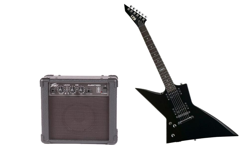 ESP LTD EX Series EX-50 Basswood Body 6 String Rosewood Fingerboard Black Electric Guitar (Left Hand) & Peavey Audition Practice Amp