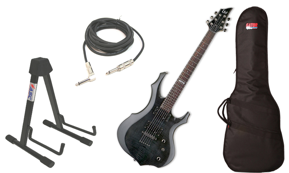 """ESP LTD F Series F-100FM Flamed Maple 6 String Rosewood Fingerboard See Through Black Electric Guitar with Travel Gig Bag, Stand & 1/4"""" Cable"""
