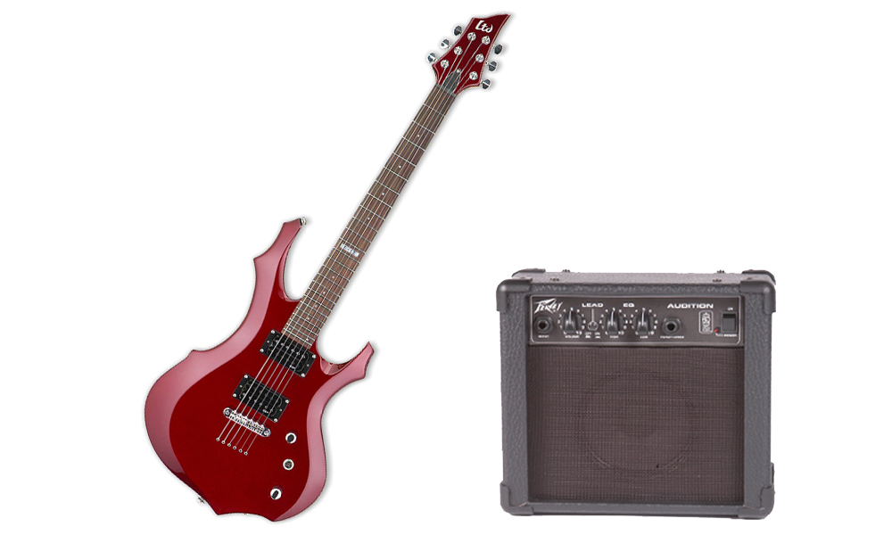 ESP LTD F Series F-50 Basswood Body 6 String Rosewood Fingerboard Black Cherry Electric Guitar & Peavey Audition Practice Amp
