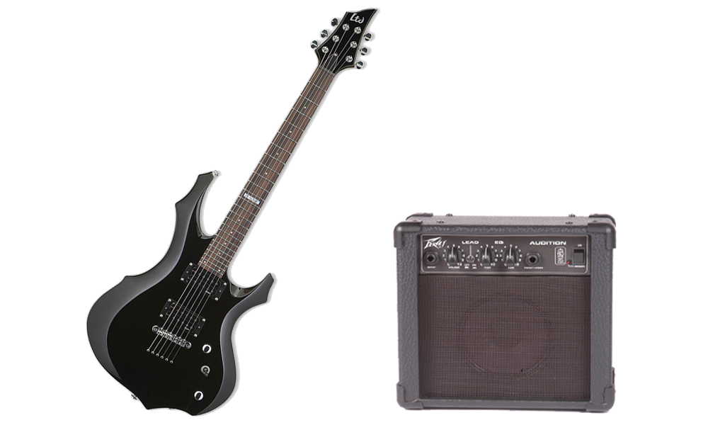 ESP LTD F Series F-50 Basswood Body 6 String Rosewood Fingerboard Black Electric Guitar & Peavey Audition Practice Amp