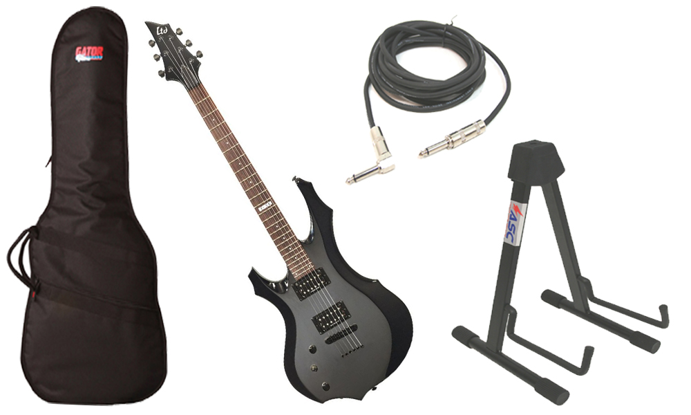 """ESP LTD F Series F-50 Basswood Body 6 String Rosewood Fingerboard Black Electric Guitar (Left Hand) with Travel Gig Bag, Stand & 1/4"""" Cable"""