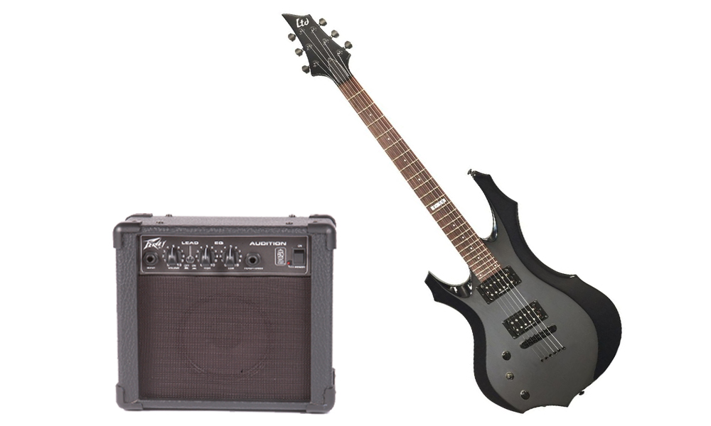 ESP LTD F Series F-50 Basswood Body 6 String Rosewood Fingerboard Black Electric Guitar (Left Hand) & Peavey Audition Practice Amp