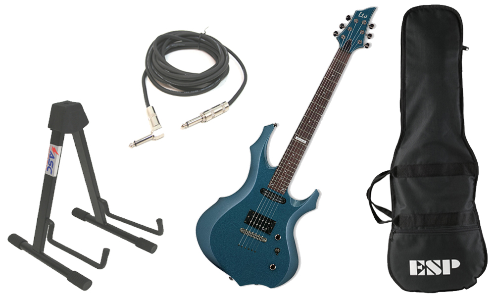 """ESP LTD F Series F-10 Kit Basswood Body 6 String Rosewood Fingerboard Gunsmoke Blue Electric Guitar with Stand & 1/4"""" Cable"""