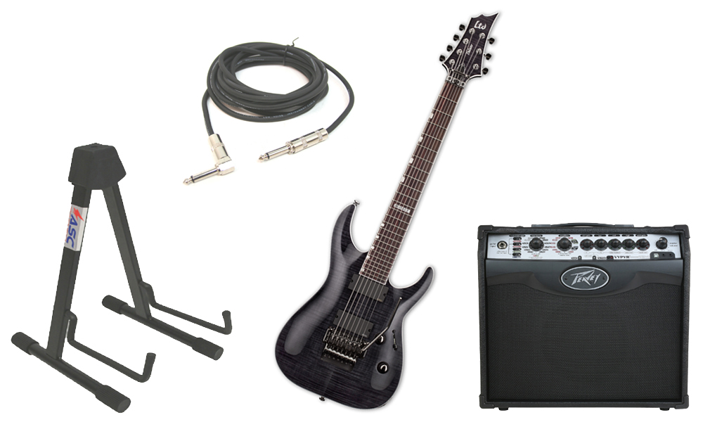 """ESP LTD H Series H-1007FR Flamed Maple 7 String Rosewood Fingerboard Floyd Rose Bridge See Through Black Electric Guitar with Peavey VIP 1 Modeling Amp, 1/4"""" Cable & Stand"""