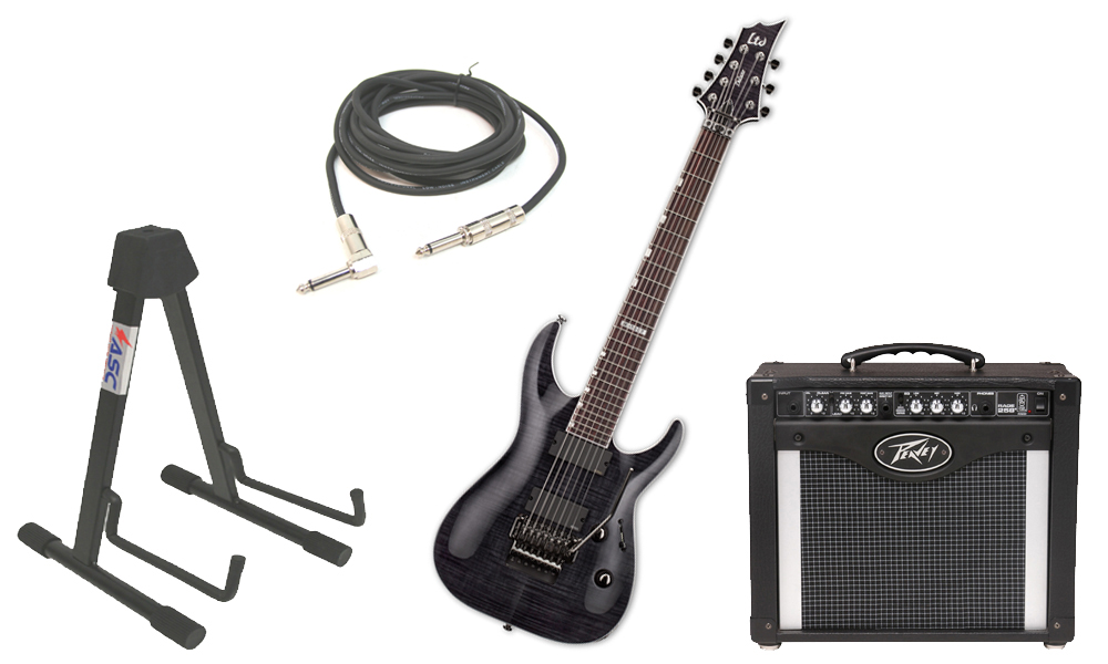 """ESP LTD H Series H-1007FR Flamed Maple 7 String Rosewood Fingerboard Floyd Rose Bridge See Through Black Electric Guitar with Peavey Rage 258 TransTube Amp, 1/4"""" Cable & Stand"""