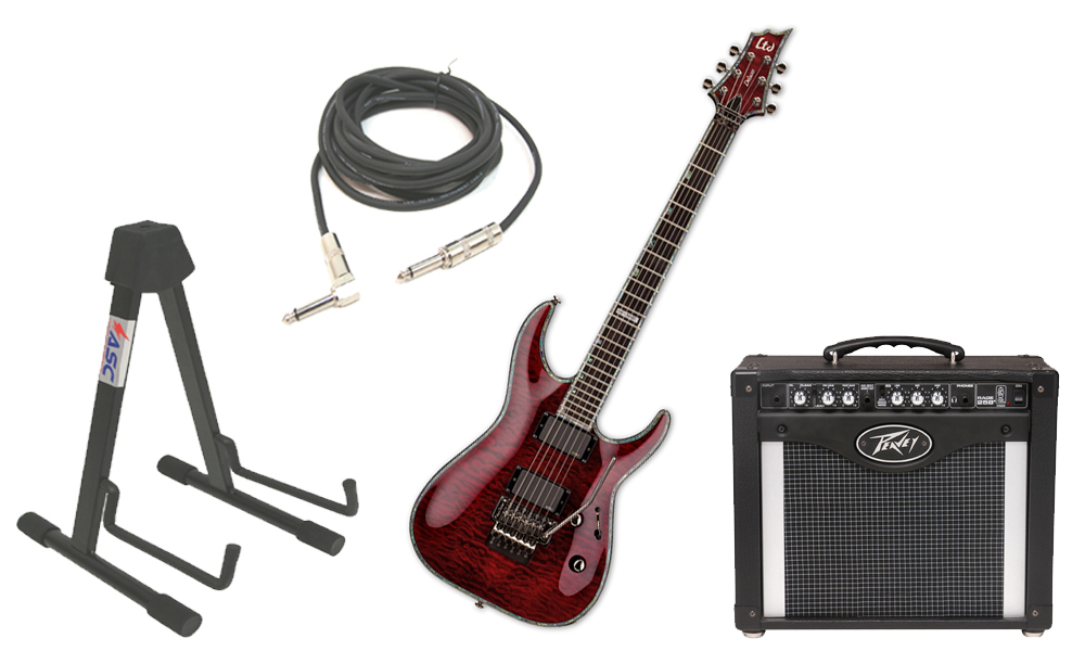 "ESP LTD H Series H-1001FR Quilted Maple 6 String Rosewood Fingerboard Floyd Rose Bridge See Through Black Cherry Electric Guitar with Peavey Rage 258 TransTube Amp, 1/4"" Cable & Stand"