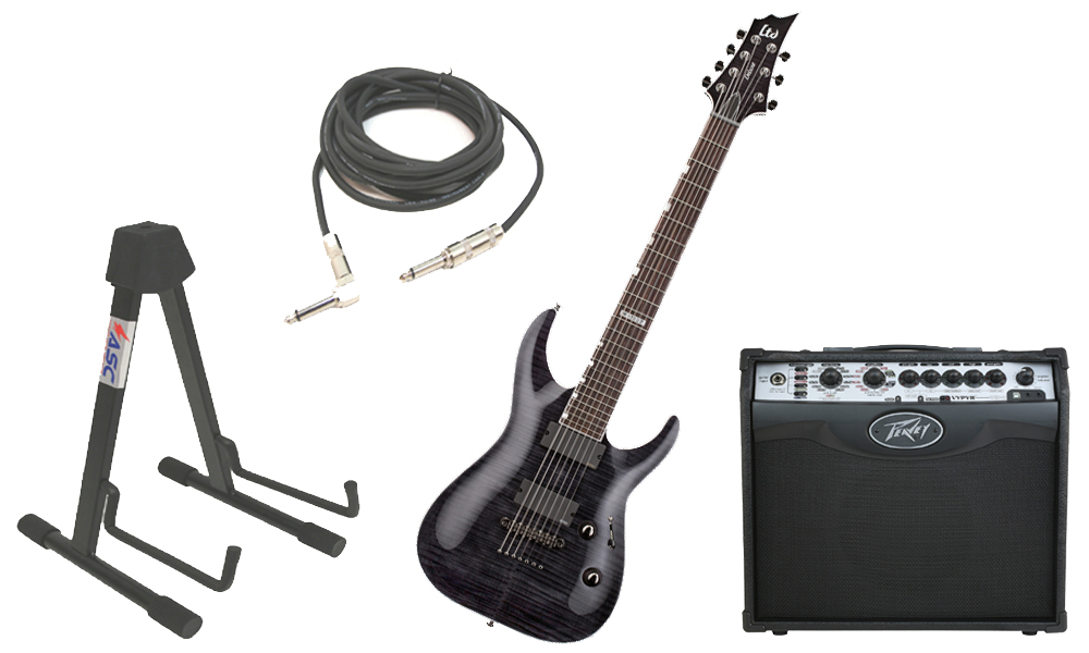 """ESP LTD H Series H-1007 Flamed Maple 7 String Rosewood Fingerboard See Through Black Electric Guitar with Peavey VIP 1 Modeling Amp, 1/4"""" Cable & Stand"""