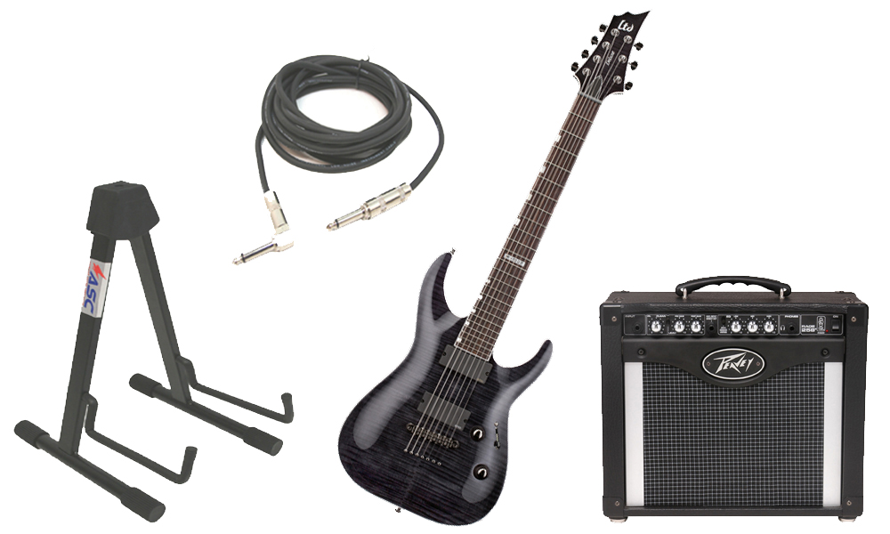 """ESP LTD H Series H-1007 Flamed Maple 7 String Rosewood Fingerboard See Through Black Electric Guitar with Peavey Rage 258 TransTube Amp, 1/4"""" Cable & Stand"""
