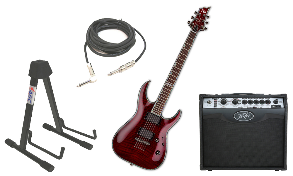 """ESP LTD H Series H-1001FM Flamed Maple 6 String Rosewood Fingerboard See Through Black Cherry Electric Guitar with Peavey VIP 1 Modeling Amp, 1/4"""" Cable & Stand"""