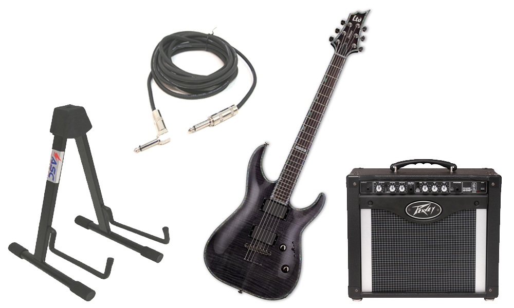 """ESP LTD H Series H-1001FM Flamed Maple 6 String Rosewood Fingerboard See Through Black Electric Guitar with Peavey Rage 258 TransTube Amp, 1/4"""" Cable & Stand"""