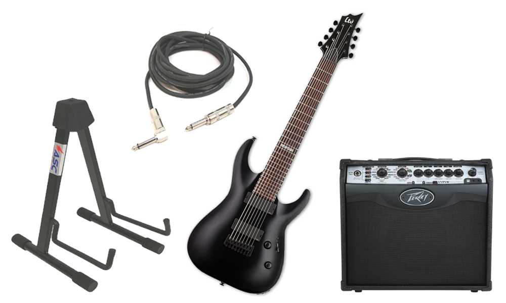 """ESP LTD H Series H-308 Mahogany Body 8 String Rosewood Fingerboard Black Satin Electric Guitar with Peavey VIP 1 Modeling Amp, 1/4"""" Cable & Stand"""