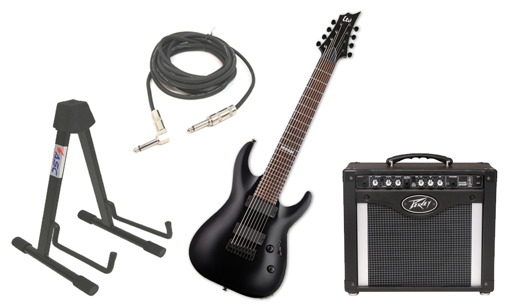 "ESP LTD H Series H-308 Mahogany Body 8 String Rosewood Fingerboard Black Satin Electric Guitar with Peavey Rage 258 TransTube Amp, 1/4"" Cable & Stand"