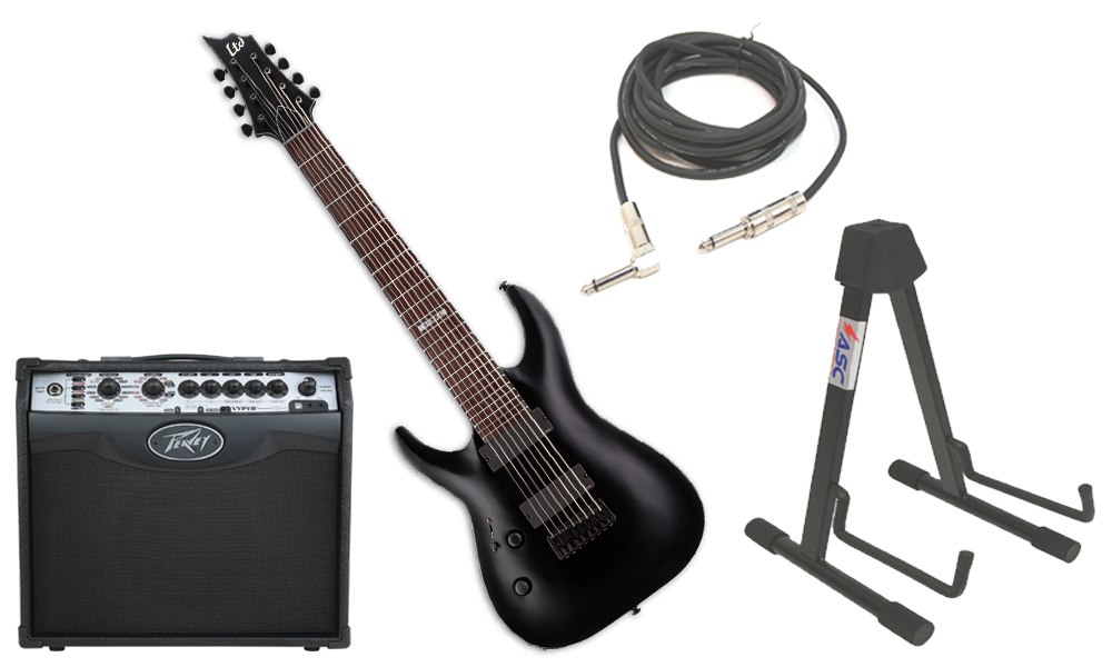 """ESP LTD H Series H-308 Mahogany Body 8 String Rosewood Fingerboard Black Satin Electric Guitar (left Hand) with Peavey VIP 1 Modeling Amp, 1/4"""" Cable & Stand"""
